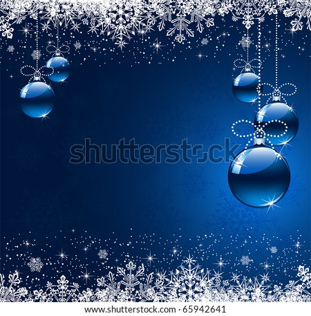 Background with snowflakes and Christmas balls, illustration