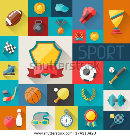 background with sport icons in