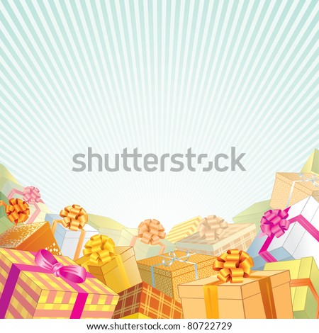 Background with stack of Gift Boxes and Presents