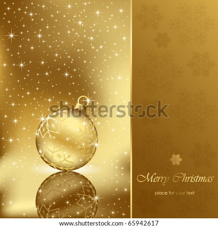 Background with stars and Christmas ball, illustration - stock vector