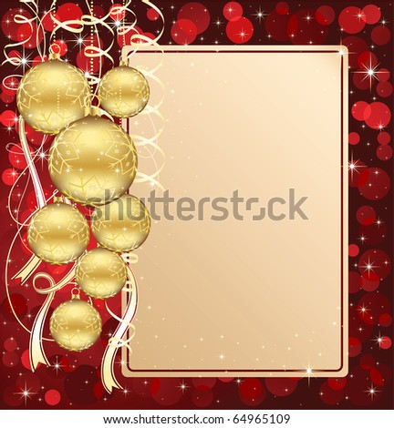 Background with stars and Christmas balls, illustration