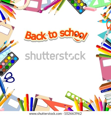 "background with stationery and text ""back to school"""