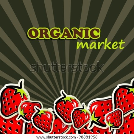 background with strawberries - stock vector