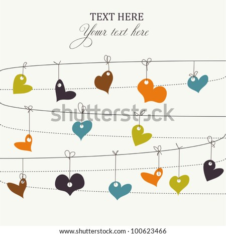 Background with stylish doodle colorful hearts