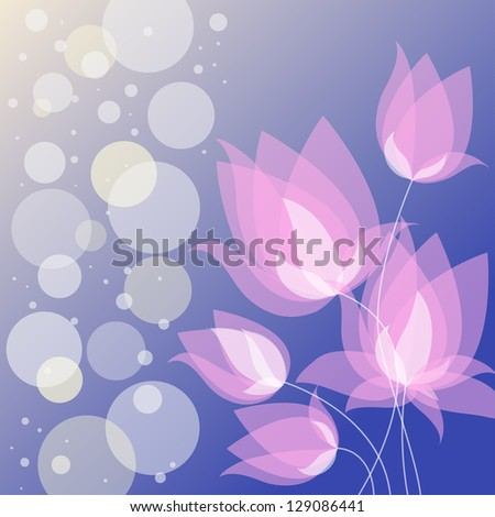 background with stylized bright tulips