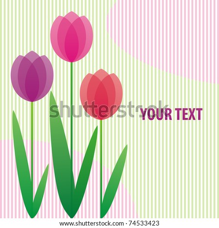 background with stylized bright tulips with space for your text Stock photo ©