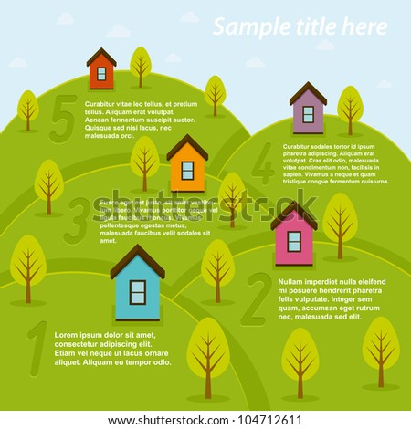 Background with summer landscape. Vector illustration. - stock vector