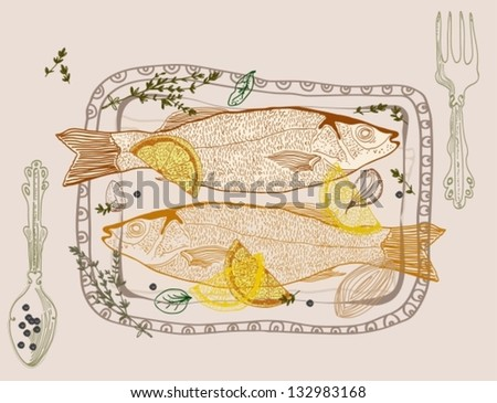 Background with taste fish dish, vector - stock vector