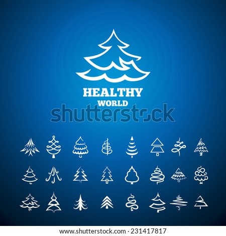 background with the logo of a tree set of icons tree