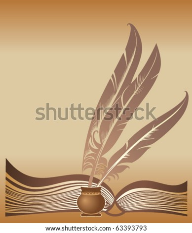 Background with the opened book and three quills