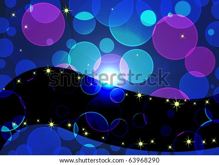 background with transparent circles and stars. vector 10eps.
