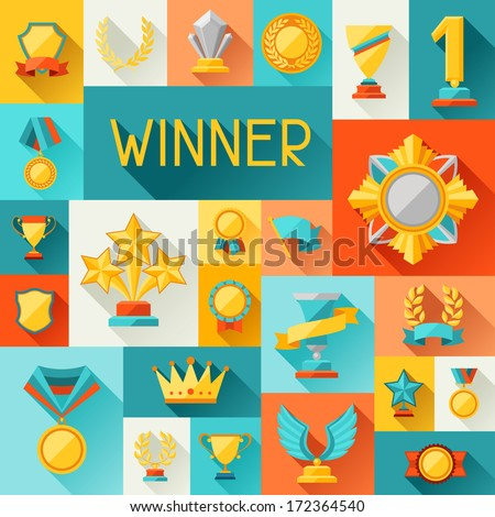 Background with trophy and awards in flat design style