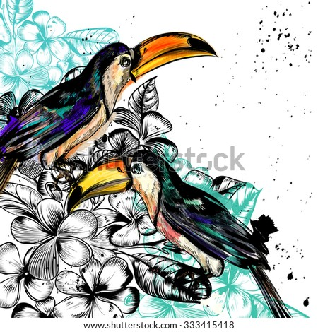 Background with tropical flowers and toucan birds in engraved and watercolor styles