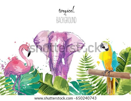 Background with Tropical Leaves flamingo, parrot and elephant. Suitable for nature concept, safari, zoo and summer holiday. Vector Illustration.