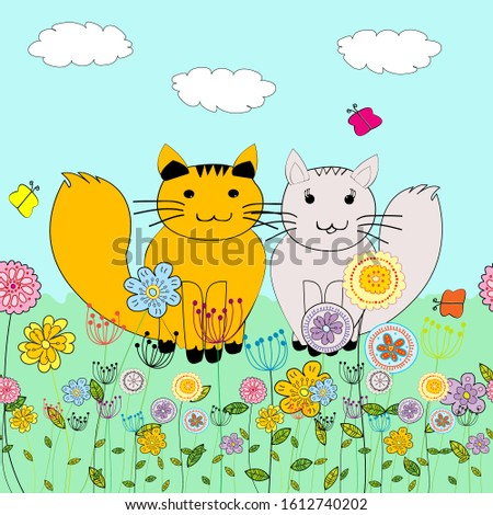 background with two cartoon