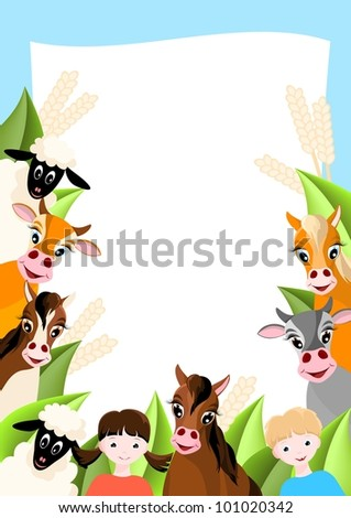 background with two children, sheep, cows and horses,  farm animals - vector illustration