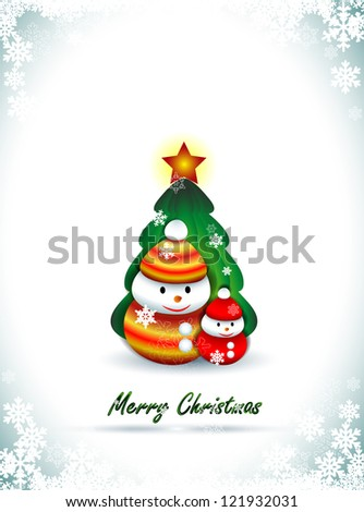 Background with two snowmen and Christmas tree, Christmas greetings