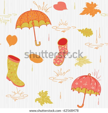 Background with umbrella, leaves and rubber boots, vector pattern,