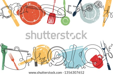 Background with Utensils and Food. Cooking Horizontal Pattern. Vector illustration. Stok fotoğraf ©