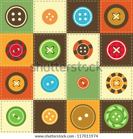 background with various sewing buttons