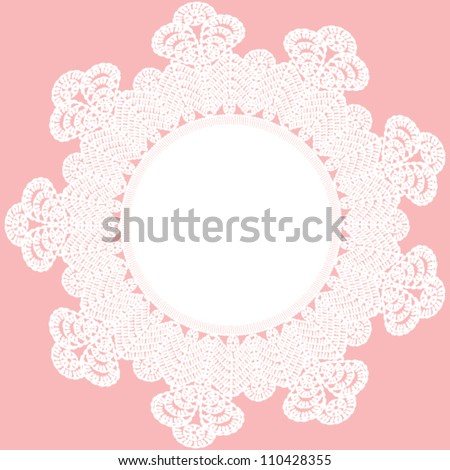 Background with vintage lace frame. Crocheted napkin