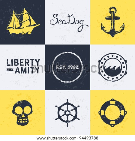 Background with vintage retro nautical symbols and icons