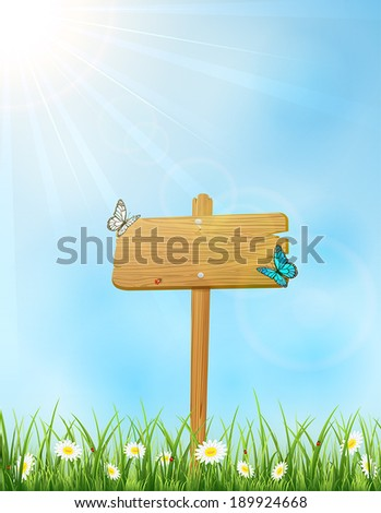 Background with wooden sign in grass and butterflies, illustration.
