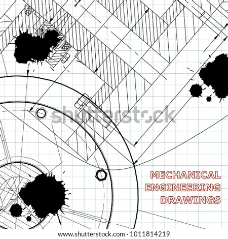 Backgrounds of engineering subjects. Technical illustration. Mechanical. Draft. Black Ink. Blots