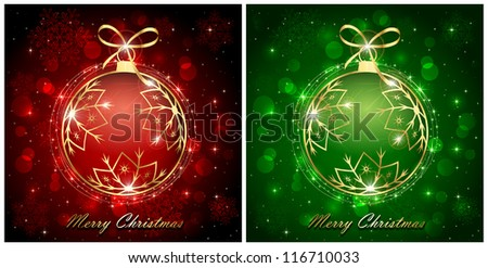Backgrounds with red and green christmas baubles, illustration.