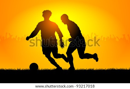 Backlighting shapes of men who play to soccer