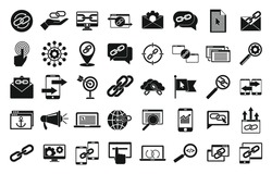 Backlink strategy icons set. Simple set of backlink strategy vector icons for web design on white background