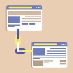 Backlinks or link building vector illustration. SEO concept. Link building, backlink strategy for SEO marketing.