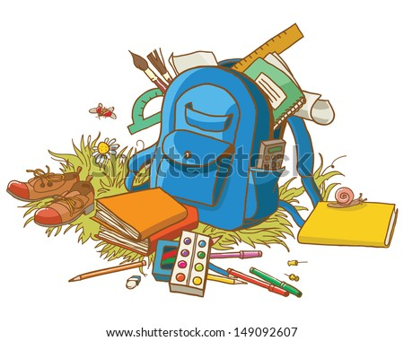 Backpack and School Supplies. Back to School Decoration. VECTOR. Great design for advertising or card. Great illustration for a school books and more. VECTOR. Editorial. Education.
