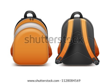 Backpack back bag rucksack for school or student in front and back side view vector realistic illustration isolated on white background