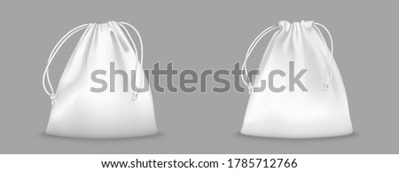Backpack bag with drawstrings isolated on transparent background. Vector realistic mockup of school pouch for clothes and shoes, white full sport knapsacks with strings Сток-фото ©