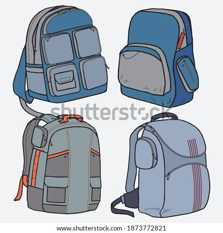 Backpack camp vector Template backpacking