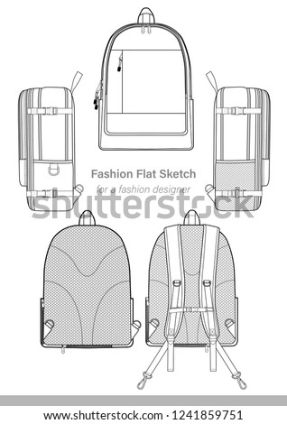 ff1112a780f Backpack design illustration flat sketches template