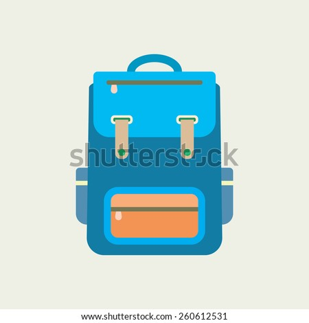 Backpack icon. Flat design