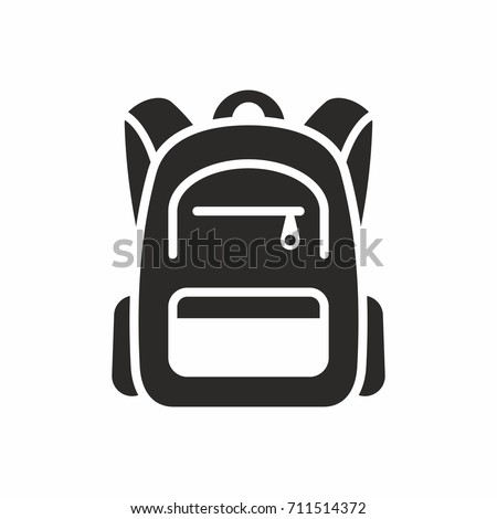 Backpack icon. School bag. Vector icon isolated on white background. Foto stock ©