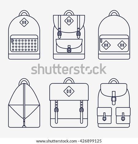 Backpack isolated icons set on background. Backpack for school, sport, travel. Flat line style vector illustration.