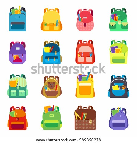 Backpack or satchel set full of different items. School supplies collection with pen, notebook, ruler, pencil etc. in child backpack, vector illustration. Children education and study, back to school