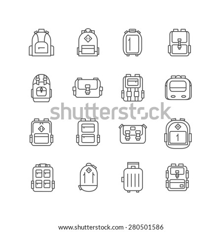 backpack outline icons set. vector