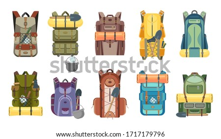 Backpack, rucksack and travel bag with tourist equipment icons of hiking, camping, tourism and outdoor adventure vector design. Backpacks with camp gears, mats, sleeping bags and knives, axes, spades Stockfoto ©