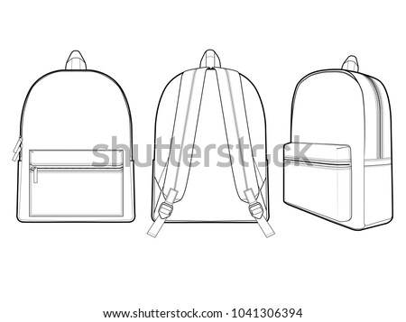 Backpack vector illustration flat sketches