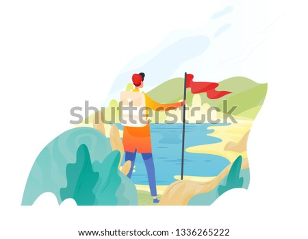 Backpacker, hiker, traveller or explorer standing, holding red flag and looking at nature. Hiking, backpacking, adventure tourism and travel, discovery of new horizons. Flat vector illustration.