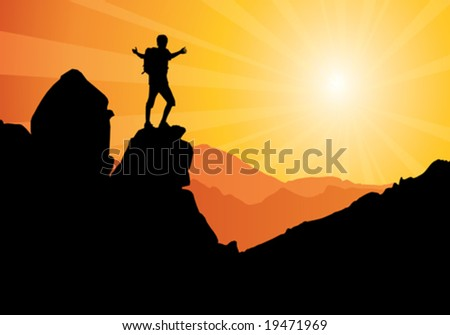 backpacker standing on top of mountain, vector illustration