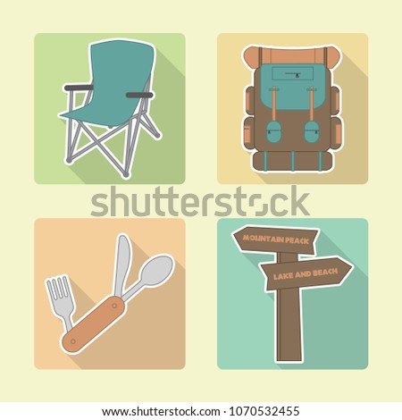 Backpacking/camping icons. Vector illustration.