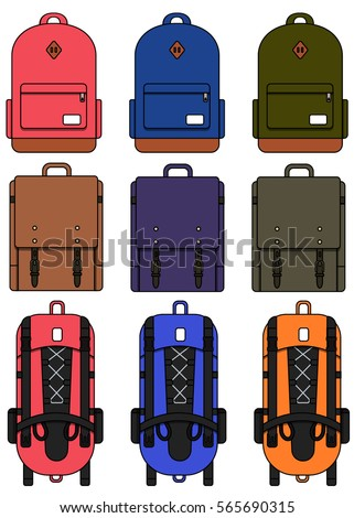 Backpacks compilation. Hiking backpack. Classic leather backpack. Rea green and blue backpacks. Backpacks isolated on white vector illustration.