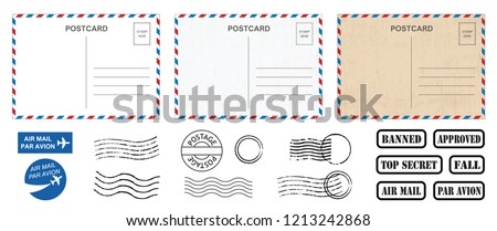 Backside blank travel postcard with dirty stain Vector Air mail par avion postage stamps stamp old post card empty Back side template tags postale set logo print address track trace airmail envelope