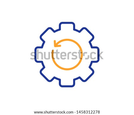 Backup data sign. Recovery gear line icon. Restore information symbol. Colorful outline concept. Blue and orange thin line recovery gear icon. Vector